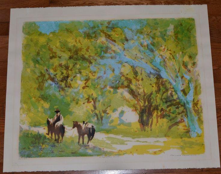 MID CENTURY Litho Print WESTERN Canyon CALIFORNIA Woods COWBOY HORSES Signed #46
