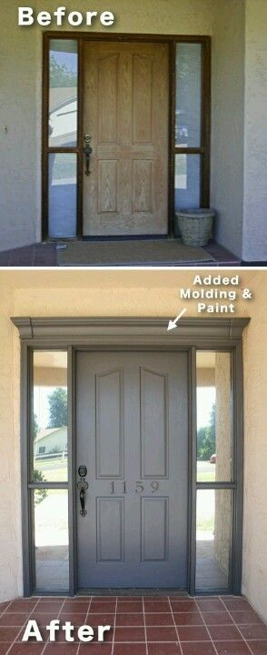 Lowe's foam crown molding $13 + paint + centered numbers = front door makeover