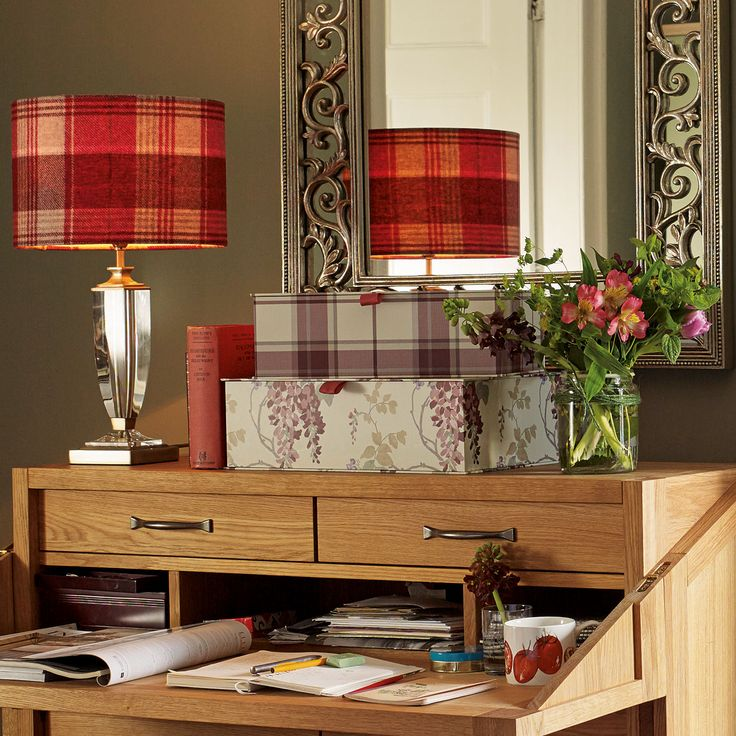 Cranbourne Check Drum Shade 12 inch at Laura Ashley