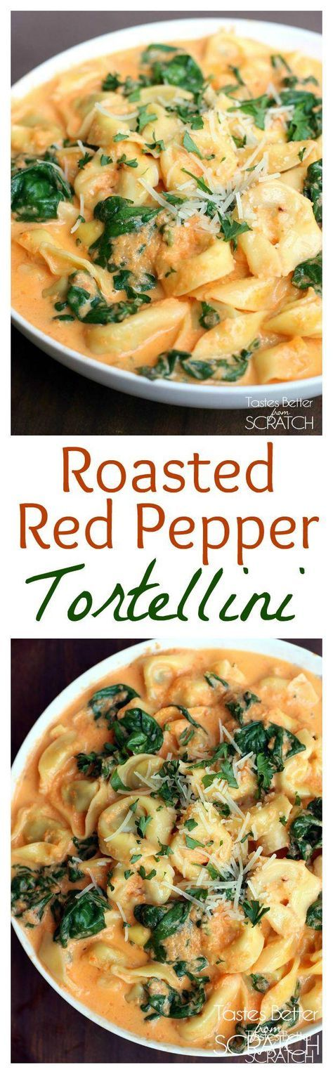 Tortellini in a delicious, creamy, homemade roasted red pepper sauce. Recipe on http://tastesbetterfromscratch.com
