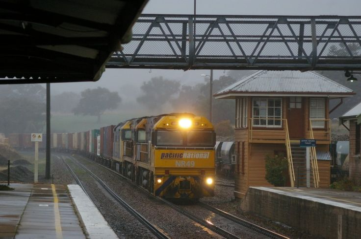 Yass Junction NR49-NR76-AN9 on a down freight to Melbourne. 8.45am. 9/7/11