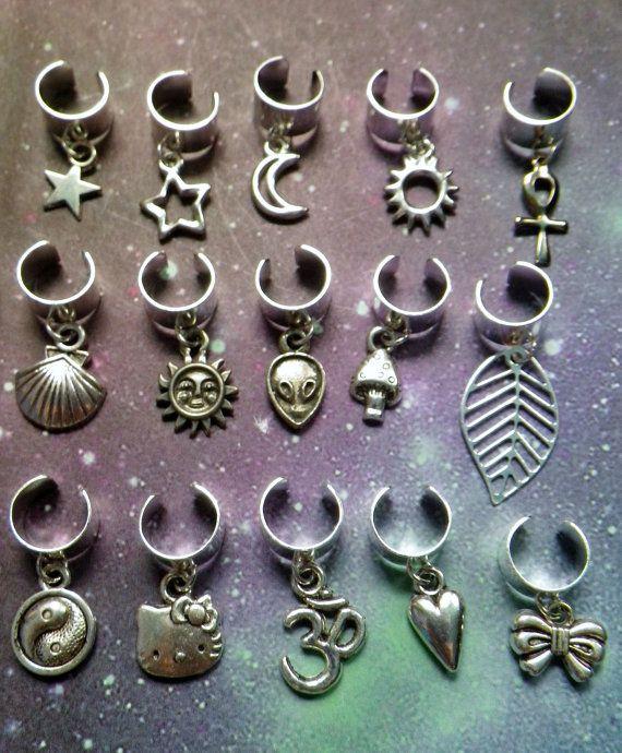 Ear cuff Dread cuff with charm alien mushroom yin by lotusfairy, $6.00 #earcuff #earrings #jewelry