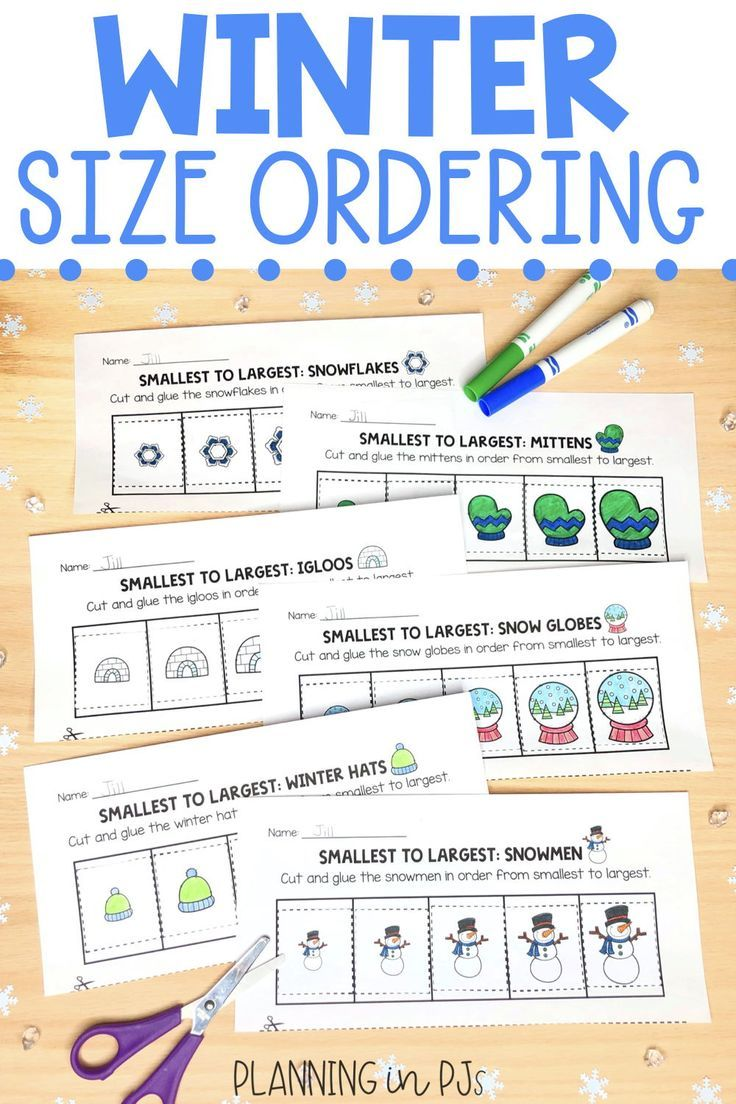 Winter Size Ordering Bundle From Smallest To Largest In 2020 Elementary Math Winter Math Kindergarten Centers