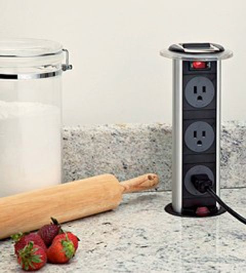 Hidden power strip for all those kitchen gadgets and appliances