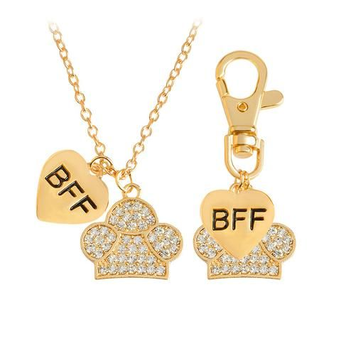"Heart ""BFF"" with Rinestone Dog Paw Couple Necklace"
