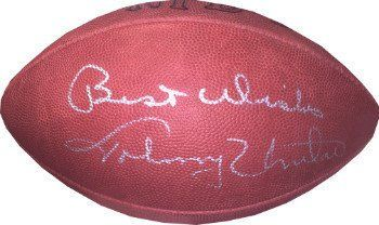 Johnny Unitas Autographed Official NFL Tagliabue Football Best Wishes Baltimore Colts - Signed NFL Collectibles *** Continue to the product at the image link.