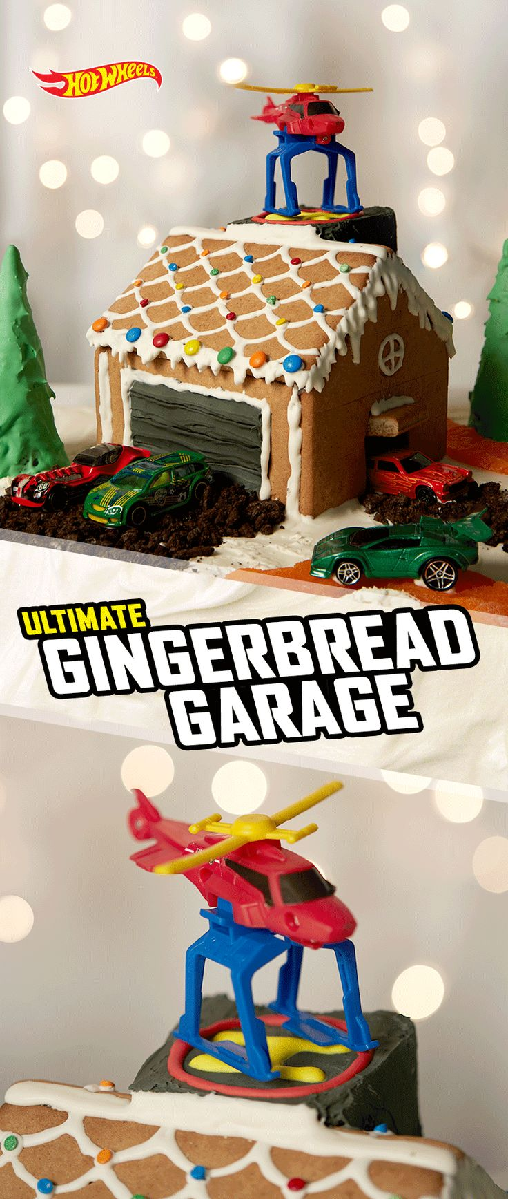 Gather your pit crew and build this Ultimate Garage-inspired gingerbread house this holiday season.