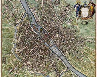 Paris map download 19th century digital old by InstantPrintable