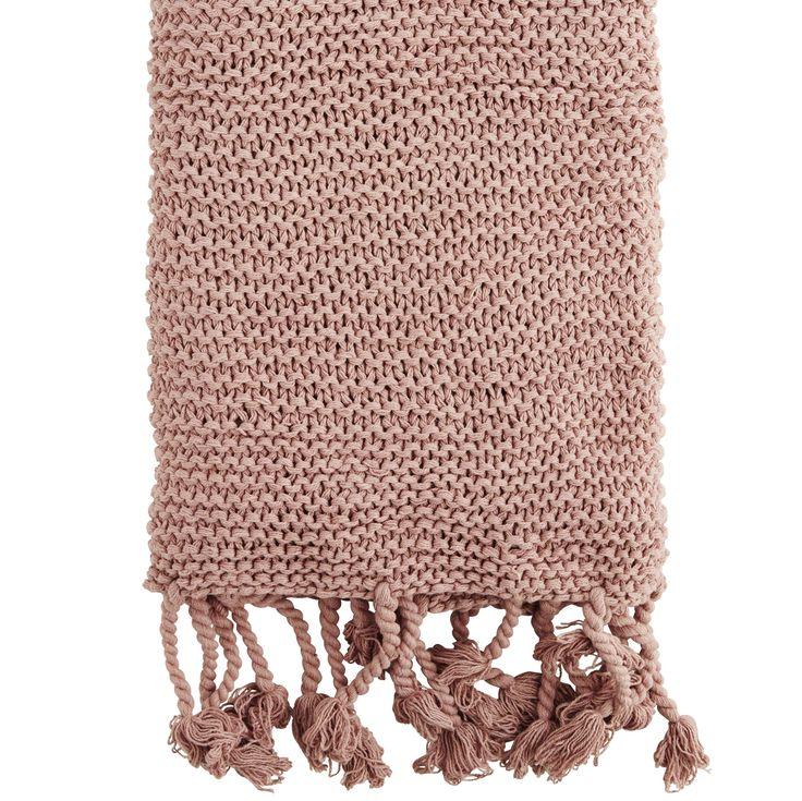 White Knitted Tassle Throw | Cotton Knit Throw | Design Vintage