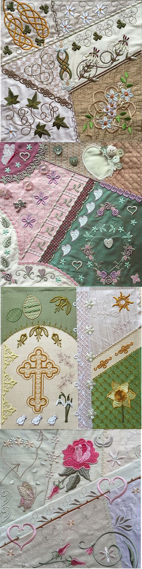 More Romantic Crazy Quilt blocks from Graceful Embroidery