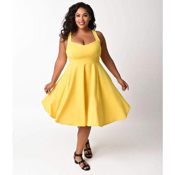 Plus Size Vintage Style Yellow Sweetheart Sleeveless Swing Dress ($48) ❤ liked on Polyvore featuring plus size women's fashion, plus size clothing, plus size dresses, yellow, plus size retro dresses, yellow dress, white swing dress, white babydoll dress and swing dress