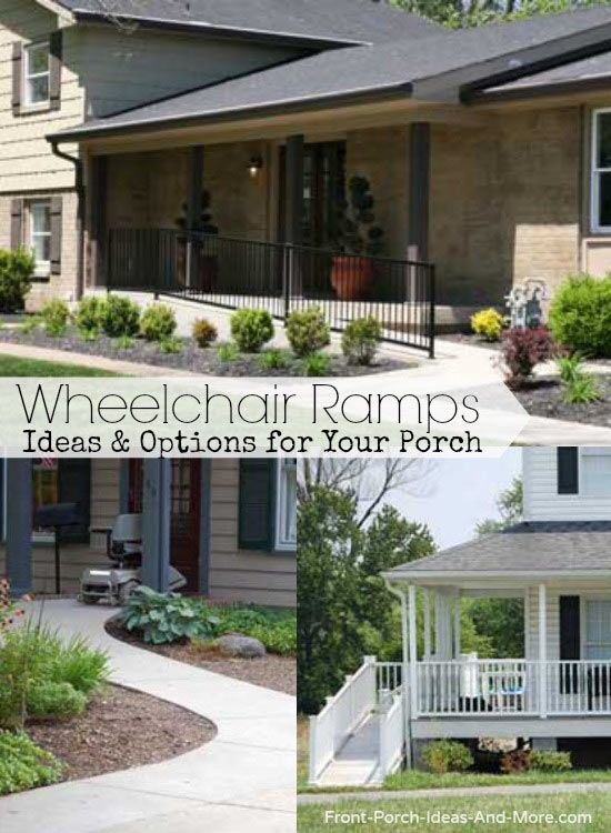 Options for wheelchair ramps for your porch and home include portable, rollup, custom. Learn about the ADA guidelines and more at Front-Porch-Ideas-and-More.com #wheelchairramp #porchlift