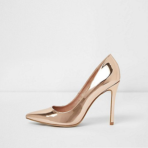 River Island £35.00 - Gold metallic wide fit court shoes