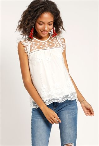 Mesh Embroidered Babydoll Top