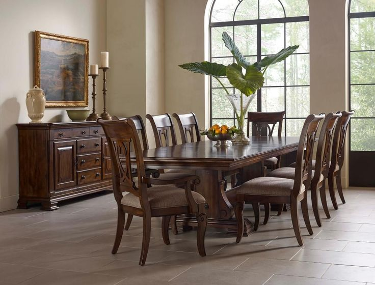 Portolone Solid Wood Trestle Table With Two Extension Leaves By Kincaid Furniture At Belfort