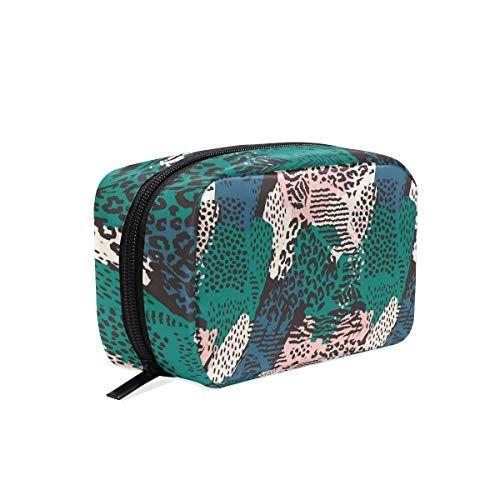 43b3e8c9cc68 Tropical Leaves Leopard Print square cosmetic bag compartment travel ...