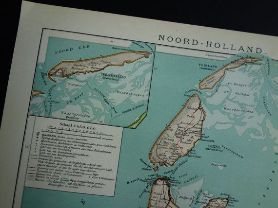 Antique Dutch map of Noord-Holland  1910 old by DecorativePrints