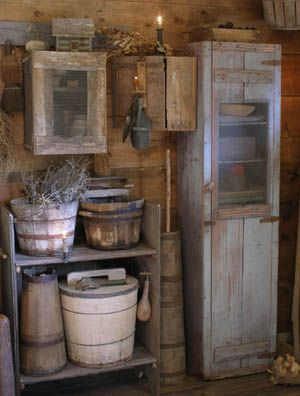 Primitive wood bucket, cupboard and candle holders. Sweet Liberty Homestead