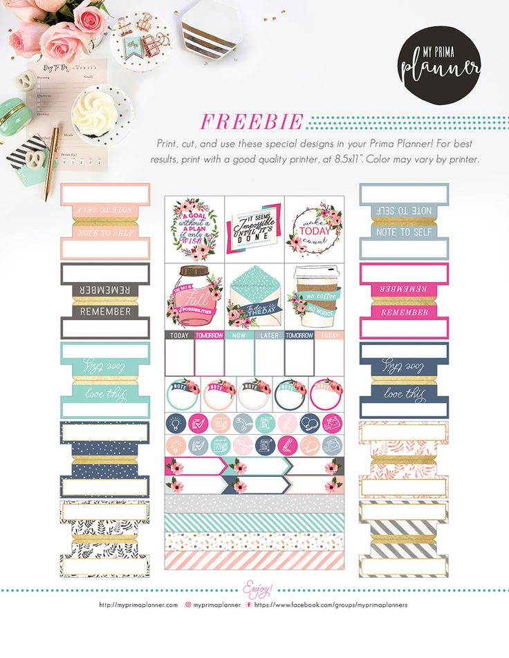 Free download for planners, cards, tags, and so much more! My Prima Planner is celebrating all week long! Come join us! #planners #freebies #printables