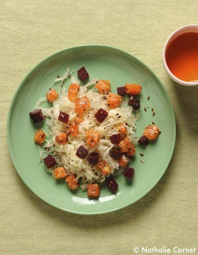 Salade de choucroute crue, saumon et betterave