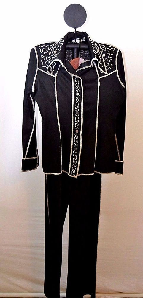 Vtg. 1960/1970 Estivo Black/Silver Bell-bottom Pant-suit 5/6 USA Embroidery  #Estivo #Formal