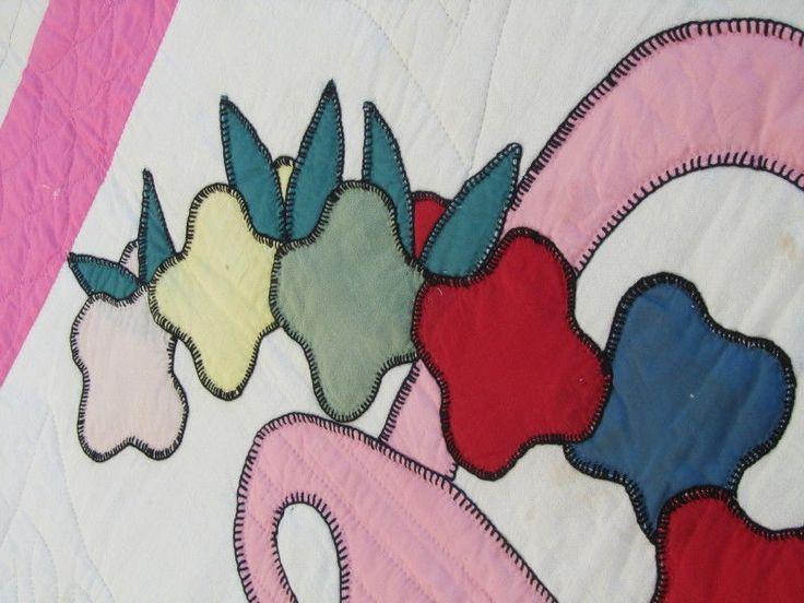 """VINTAGE Cottage Flower Basket Applique Quilt PINK COUNTRY SUMMER 90"""" x 75"""" CRISP"""