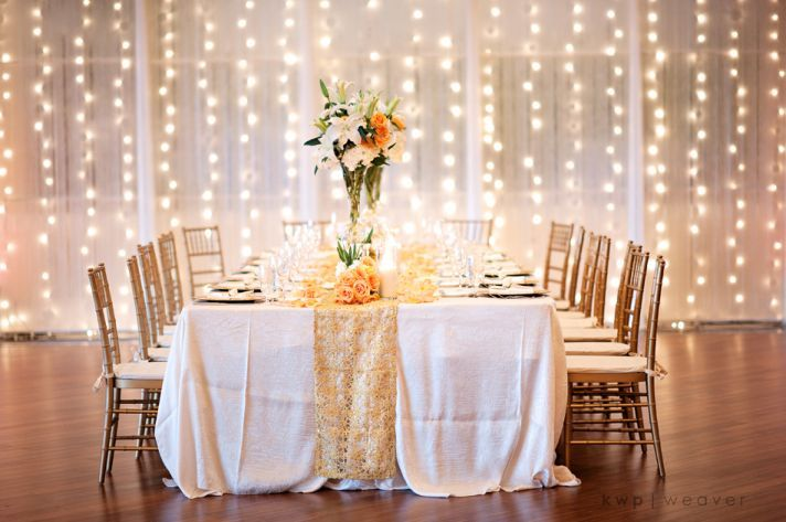 Elegant wedding reception decor for fall beach wedding
