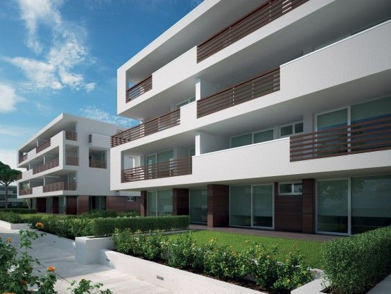 Building A is made up of eleven #flats developed on five levels: basement, ground, first and second floor each with a two-room flat and two two-bedroom apartments, all with #sea views; the third floor consists of two #penthouse with a private solarium each. #luxury #realestate #italy #lignano