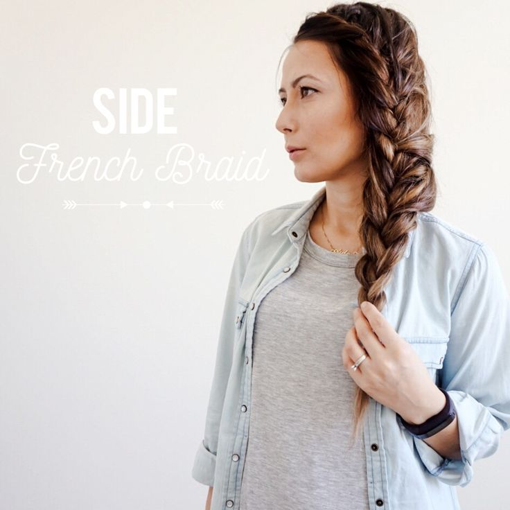 Side French braid created wearing TRESSMERIZE a clip in system for thin short hair.