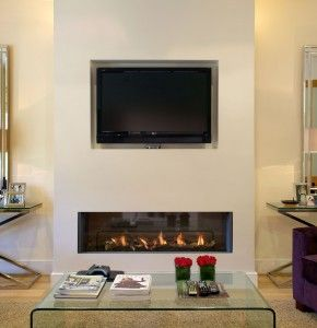 Wall mounted Tv & fire. Glass table idea?