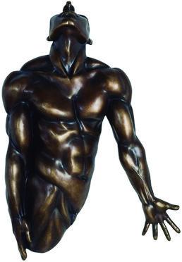 Modelo:  Muscle man   Descripción:   Figura decorativa de pared en fibra de vidrio tipo hombre atletico, color bronce quemado