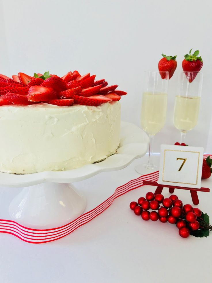 Strawberry Cake with White Chocolate frosting is simply divine!