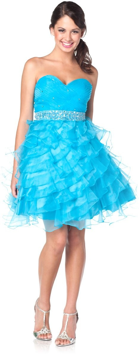 Poofy Turquoise Prom Dress Strapless Sweetheart Rhinestone Ruffle Gown $177.99