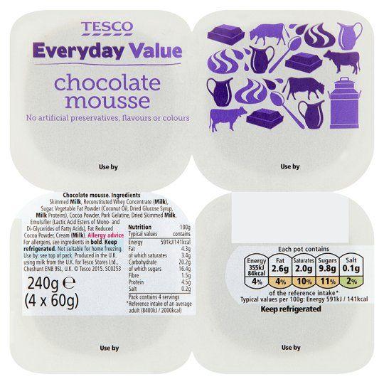 Tesco Everyday Value Chocolate Mousse 4X60g