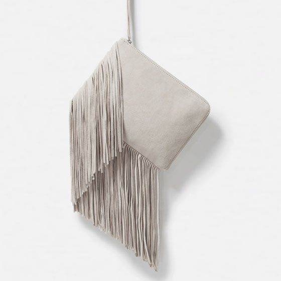 Image 1 of FRINGED LEATHER CLUTCH from Zara