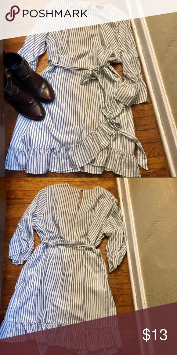 EUC blue stripe dress Flawless Dress with embellished sleeves  Sold out at Target belt helps define waist. It also comes fresh from the dry cleaner who what wear Dresses