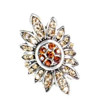 Pierścionek Vintage z Miodowymi Kryształkami Kwiat #ring #vintage #pierscionek