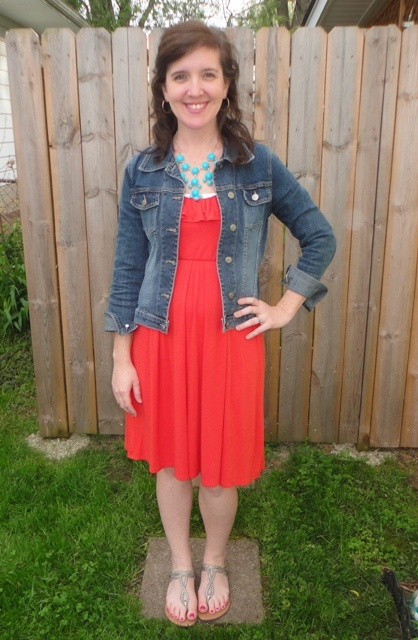 Red dress coat and jeans