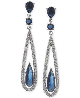Carolee Earrings, Silver-Tone Blue Glass Bead Linear Drop Earrings - Jewelry & Watches - Macy's