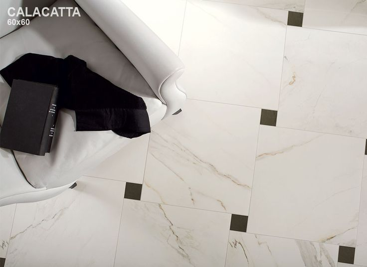 Glazed stoneware flooring with marble effect MARMO D Calacatta by Impronta Ceramiche by Italgraniti Group