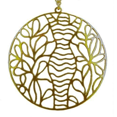 La Femme Woman's Gold Plated Silhouette Large Round Lace Pendant Necklace Grader
