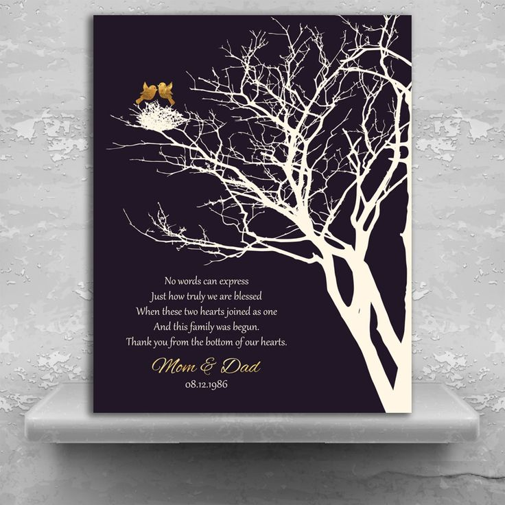 50th golden anniversary personalized family wedding tree