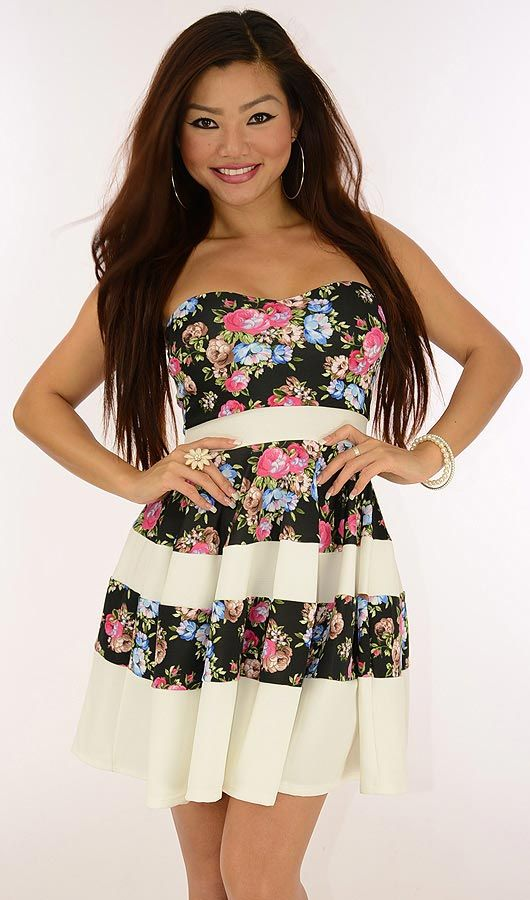 Sweet Tenderness-$22.80-Bring some tenderness to your wardrobe with this sweet dress. A floral print offset by solid color panels creates a stripe look. Padded, lifting bust cups, a defined waist, and a slightly flared skirt deliver a flirty silhouette.