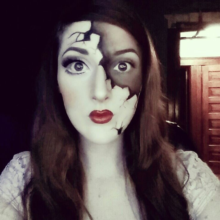 Halloween broken porcelain doll makeup. Check out my youtube channel and subscribe to see the tutorial very soon! http://www.youtube.com/user/caitlynkreklewich