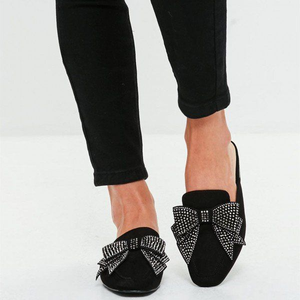 d07257036e1 Black Suede Loafer Mules Square Toe Rhinestone Bow Loafers for Women for  Work
