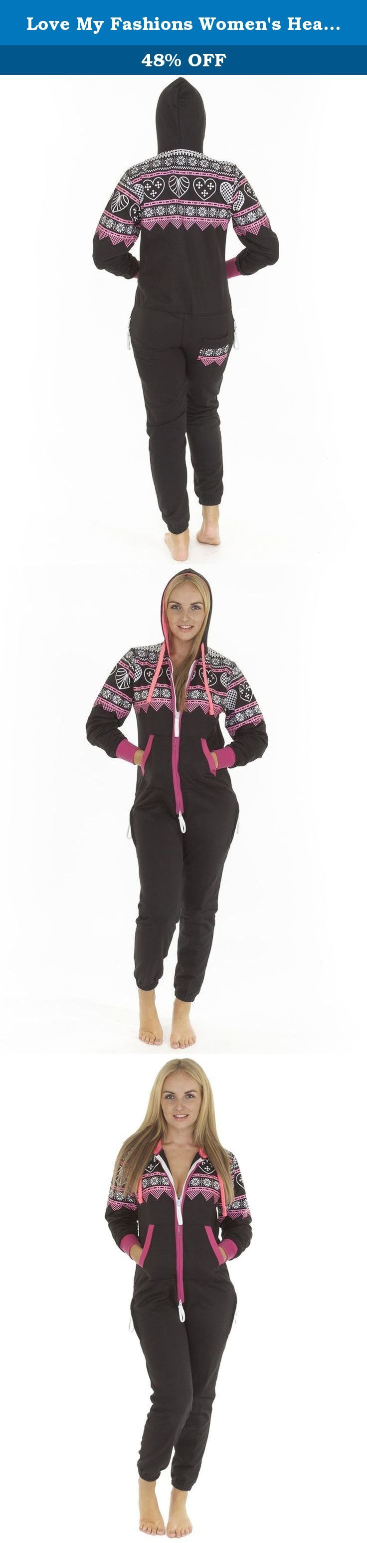 Love My Fashions Women's Heart Aztec Print Onesie Hoodie Fleece Jumpsuit Large Black. A must have item for this autumn/winter. This unisex aztec onesie with heart design is perfect for those lazy days or after a long day at work. The onesie has a double zip fastening, zips to the top of the hood. This hooded onesie has two front pockets, zipped pocket on each hip with elasticated ribbed cuffs. Made with 320 gsm fleece to ensure good quality and comfort. Colours: Black, Charcoal, Grey…