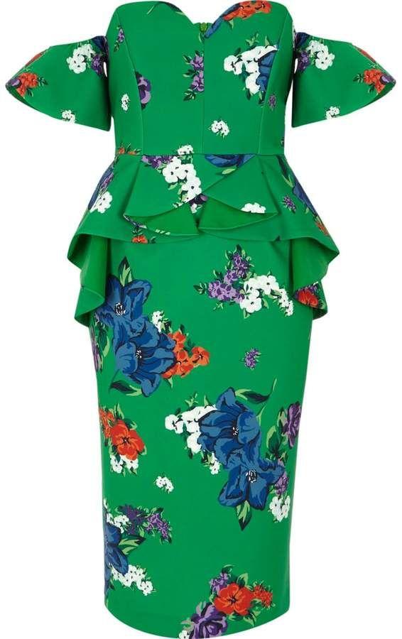 River Island Womens Green floral sweetheart bodycon midi dress