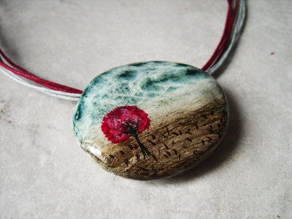 dispair  clay handpainted ooak pendant by Joogr on Etsy, €23.00