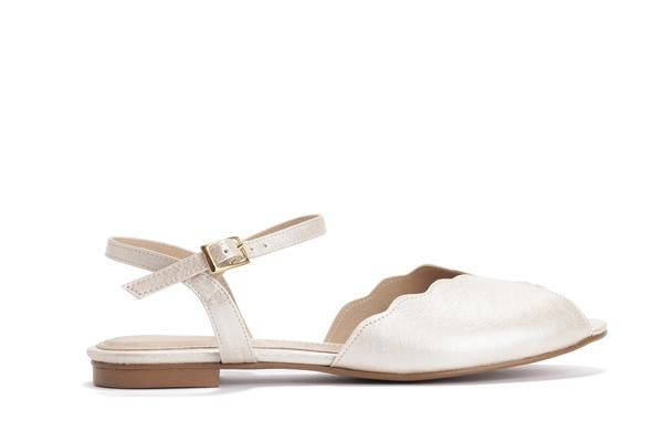 Pearl Vegan Bridal Flat Sandal Vintage Inspired Summer Wedding
