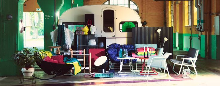 *one of everything from the ikea ps 2017 collection, please* Display of a collection consisting of fold-able sofas, armchairs and tables, sound-absorbing room divider, sturdy boxes, cushions, throws, lamps and vases.